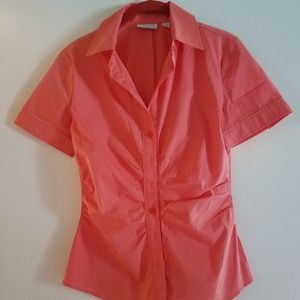 NY&C Peachy coral button-down ruched top